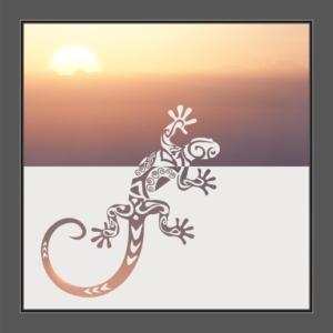 Motiv Gecko auf Fensterfolie