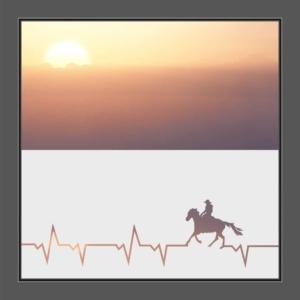 Motiv Herzschlag mit Reiterin auf einem Pferd auf Fensterfolie