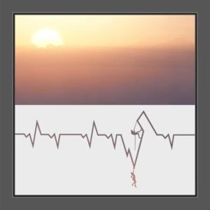 Motiv Herzschlag mit Kletterern auf Fensterfolie