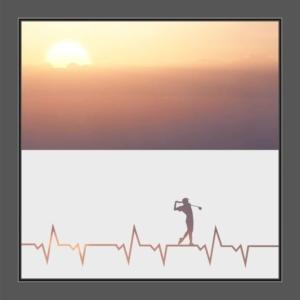 Motiv Herzschlag mit Golfspieler auf Fensterfolie