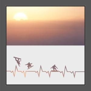 Motiv Herzschlag mit Surfer auf Fensterfolie