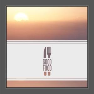 Motiv Messer und Gabel und Text: Good Food auf Fensterfolie