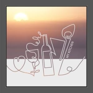 Motiv Herz, Wein und Kochlöffel mit Text: My Kitchen auf Fensterfolie
