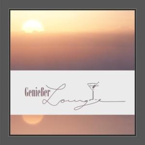 Motiv Martini und Text: Genießer Lounge auf Fensterfolie