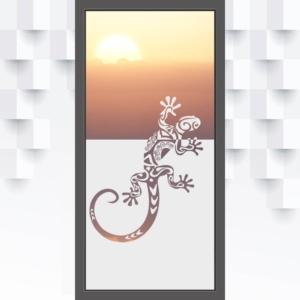 Motiv Gecko oder Reptil auf Fensterfolie