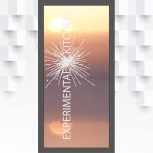 Motiv mit Text: Experimental Kitchen auf Fensterfolie