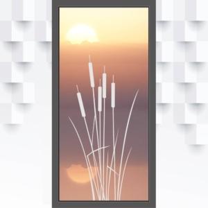 Motiv Schilfgräser auf Fensterfolie
