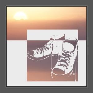 Motiv Sneaker-Kunst auf Fensterfolie