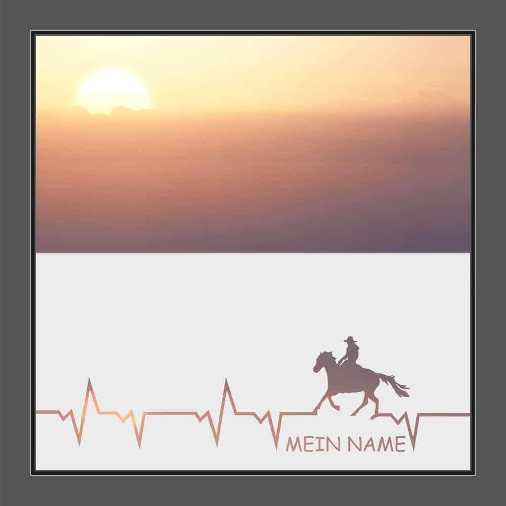 Motiv Pferd mit Text auf Fensterfolie