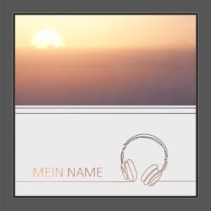 Motiv Kopfhörer mit Text auf Fensterfolie