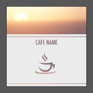 Motiv Cafe mit Text auf Fensterfolie