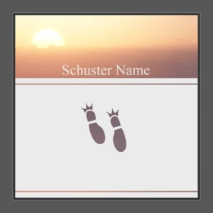 Motiv Schuster mit Text auf Fensterfolie