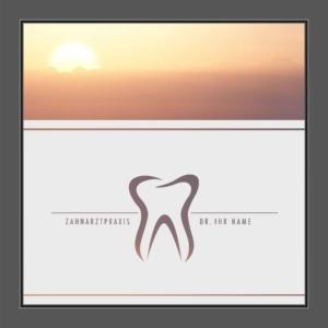 Motiv Zahnarzt Praxis mit Text auf Fensterfolie
