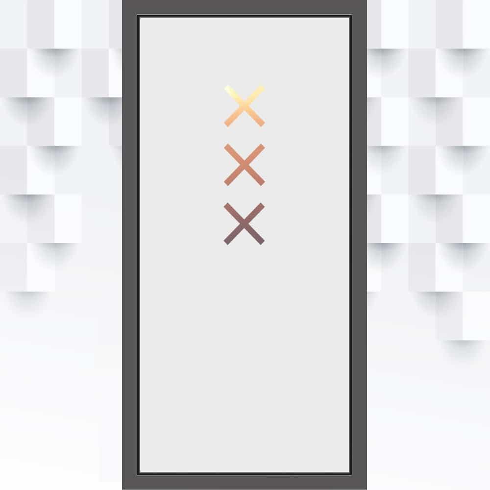 Sichtschutzfolie 3 Kreuze xxx für die Haustür