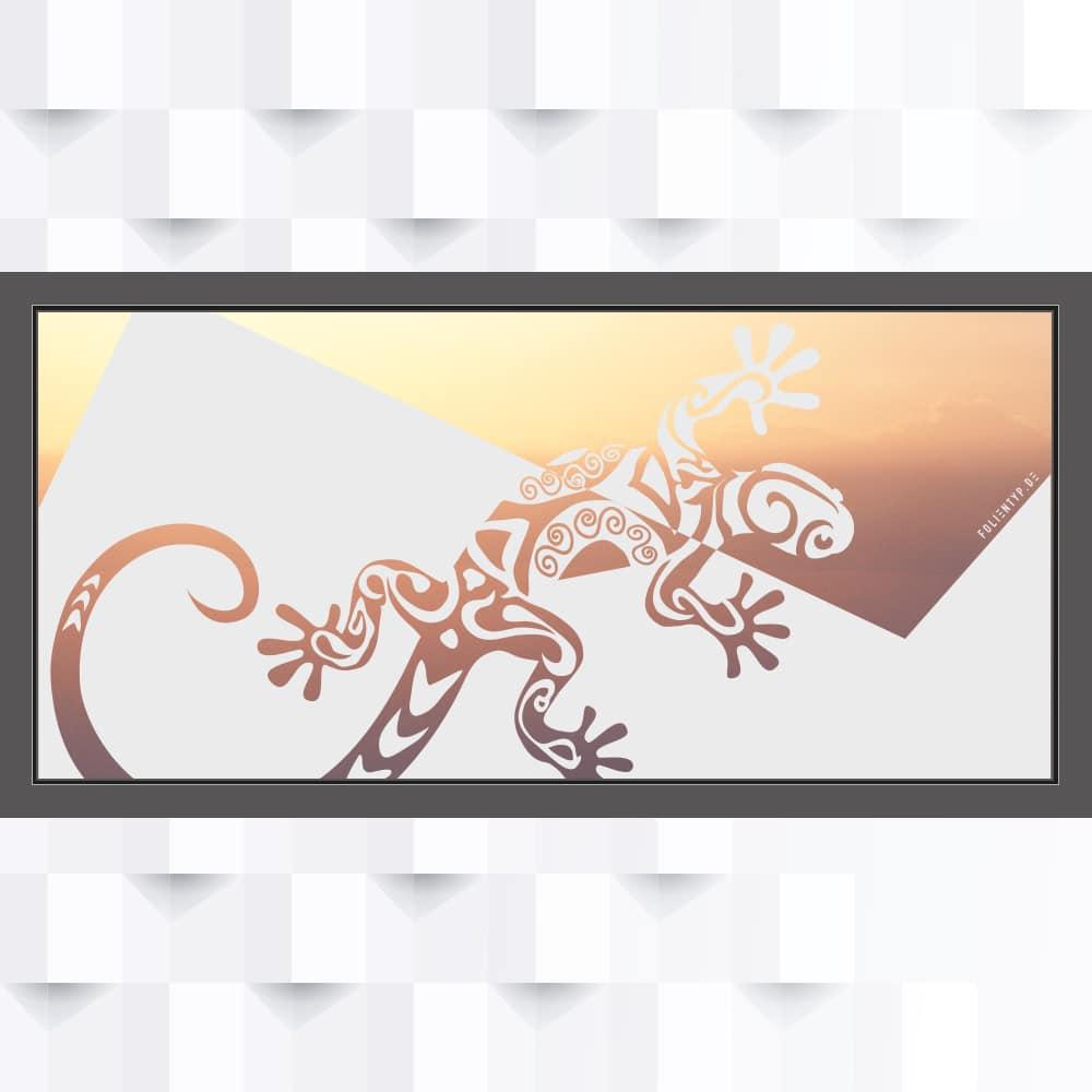 Motiv Gecko oder Reptil im Querformat auf Fensterfolie