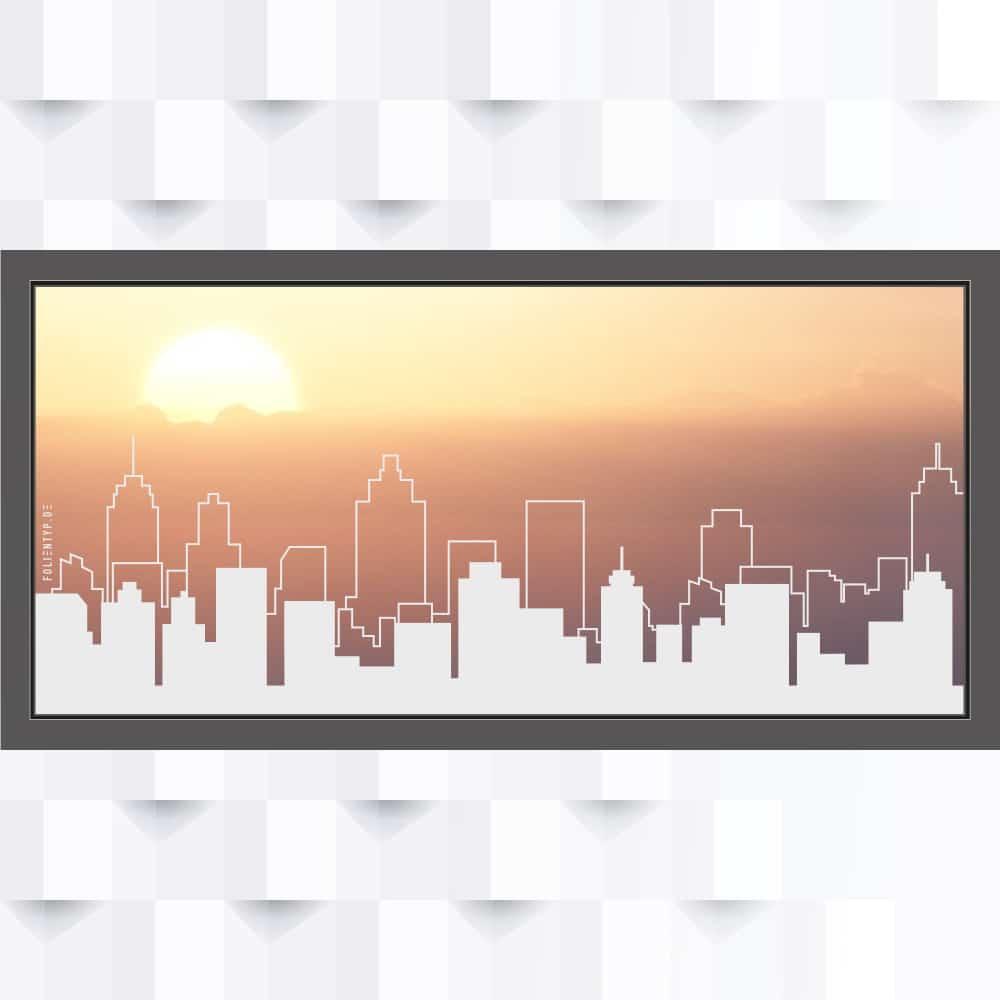 Motiv Skyline Großstadt auf Fensterfolie