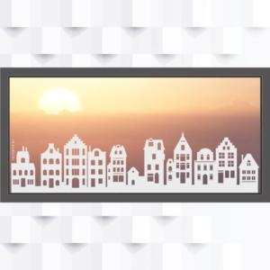 Motiv Skyline Grachten auf Fensterfolie