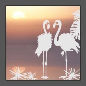 Motiv Flamingos auf Fensterfolie