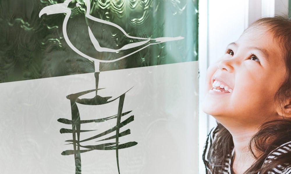 Bild Möwe am Fenster mit Mädchen