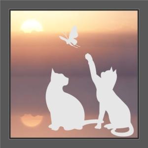 Fenstersticker spielende Katzen